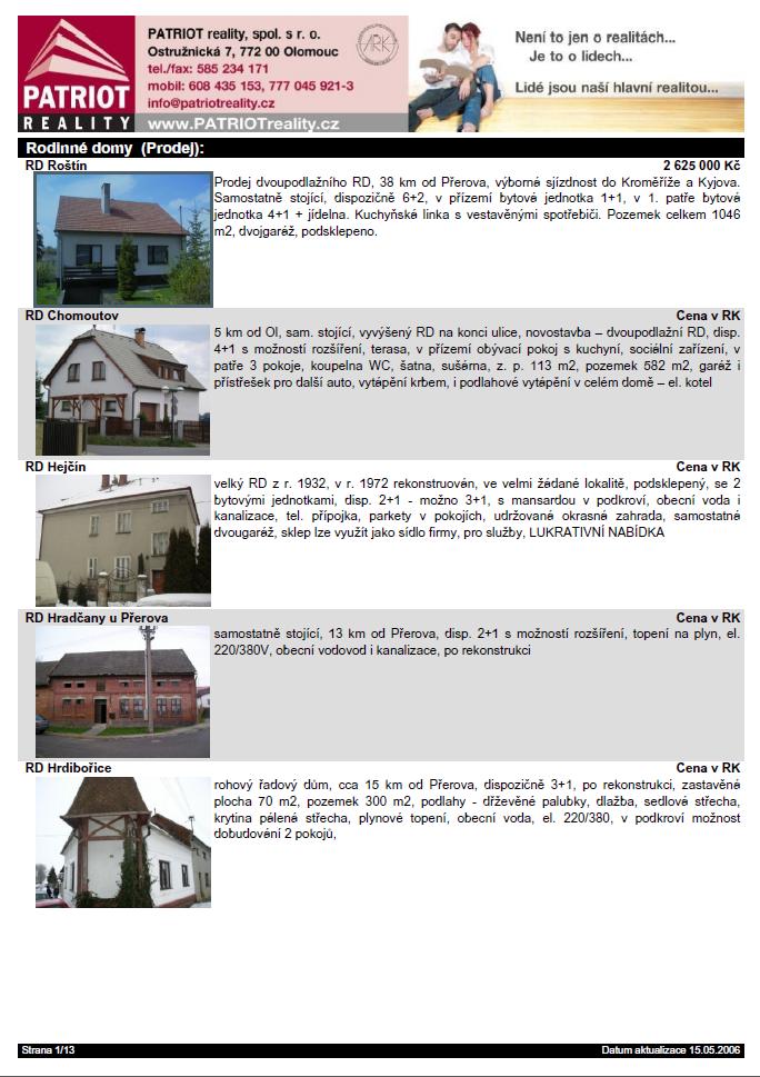 Tisk seznamu nemovitostí